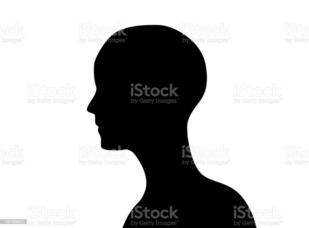 Anonymous man icon. Side view of human head icon shape or profile silhouette isolated on white background. abstract illustration stock photo