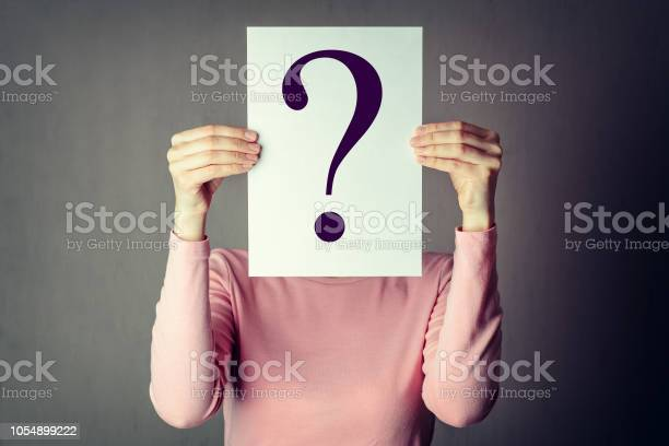 portrait of casual anonymous woman covering face with paper showing question mark.