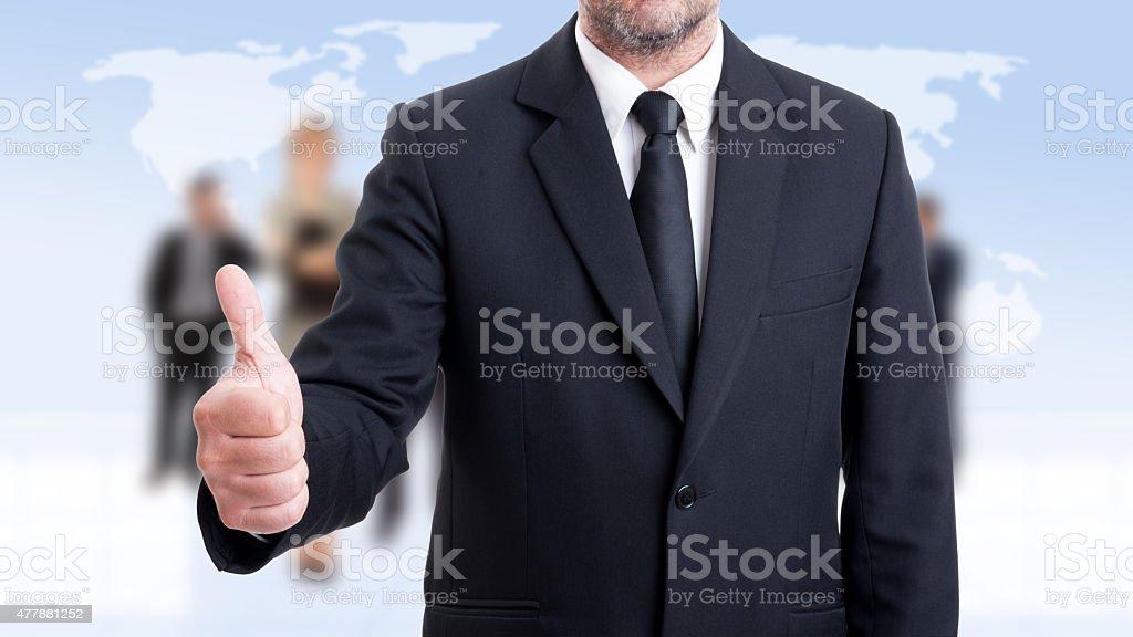 Anonymus Homem de negócios mostrando como - fotografia de stock