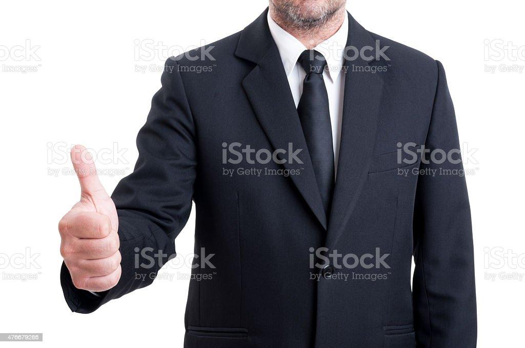 Anonymus Homem de negócios, mostrando o polegar para cima - fotografia de stock