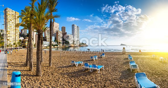 istock anoramic seascape view of summer resort with beach(Playa de Llevant) and famous skyscrapers. Costa Blanca. City of Benidorm, Alicante, Valencia, Spain. 1210997349