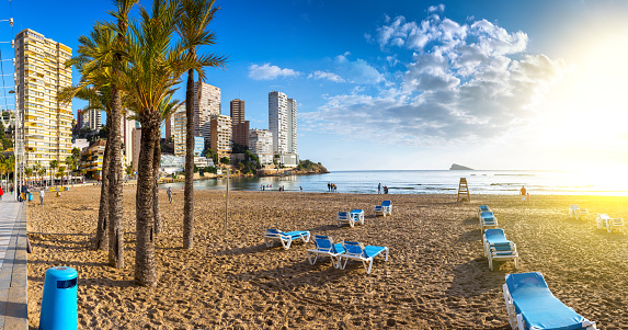 anoramic seascape view of summer resort with beach(Playa de Llevant) and famous skyscrapers. Costa Blanca. City of Benidorm, Alicante, Valencia, Spain.