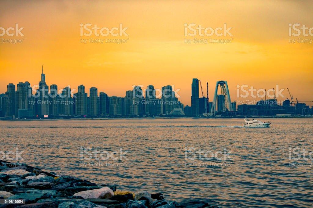Another beautiful sunset over modern Dubai skyline stock photo