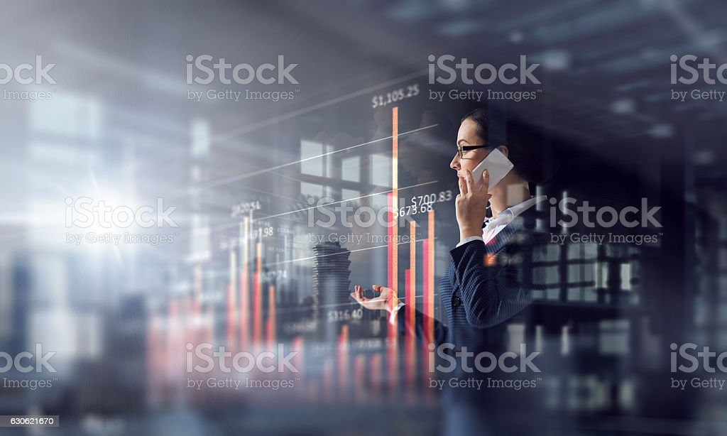 Another busy day in office . Mixed media stock photo