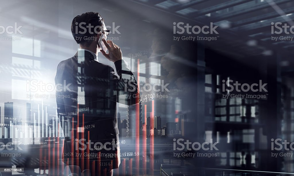 Another late night in office . Mixed media stock photo