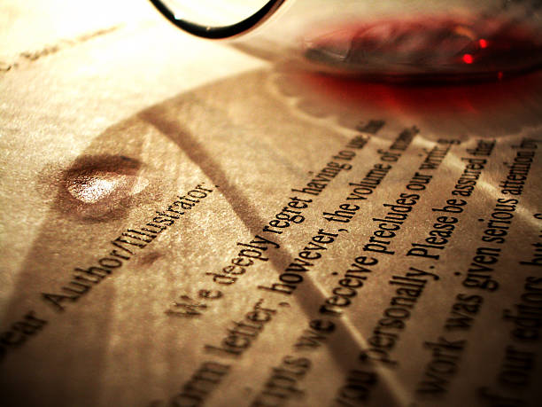 Another Moody Artist: Wineglass Spilled on Rejection Letter stock photo