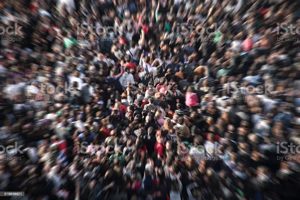Anoymous crowd from above stock photo