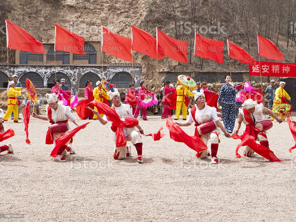 Ansai Waist Drum Dance stock photo