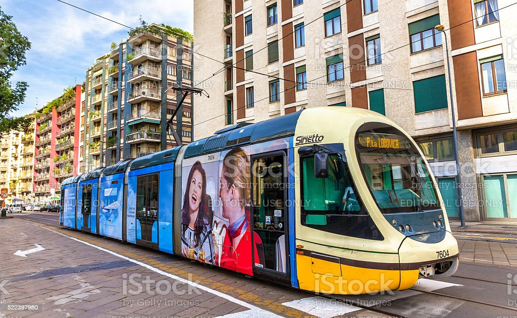 AnsaldoBreda Sirio tram in the city centre of Milan stock photo