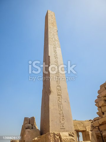 Anscient Temple of Karnak in Luxor - Ruined Thebes Egypt. Ancient obelisk