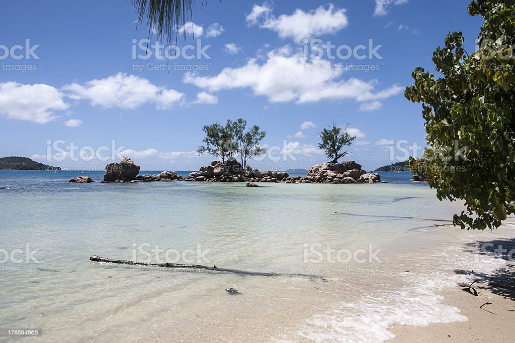 Anse Boudin Beach Praslin in Seychelles royalty-free stock photo