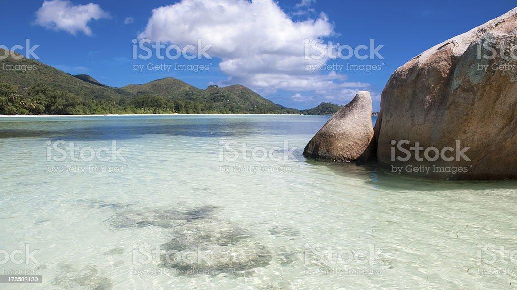 Anse Gouvemement Beach on Praslin in Seychelles royalty-free stock photo