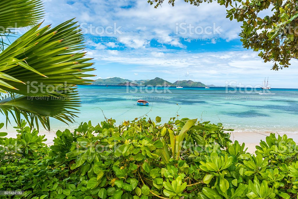 Anse la Reunion - Seychelles, La Digue Island stock photo