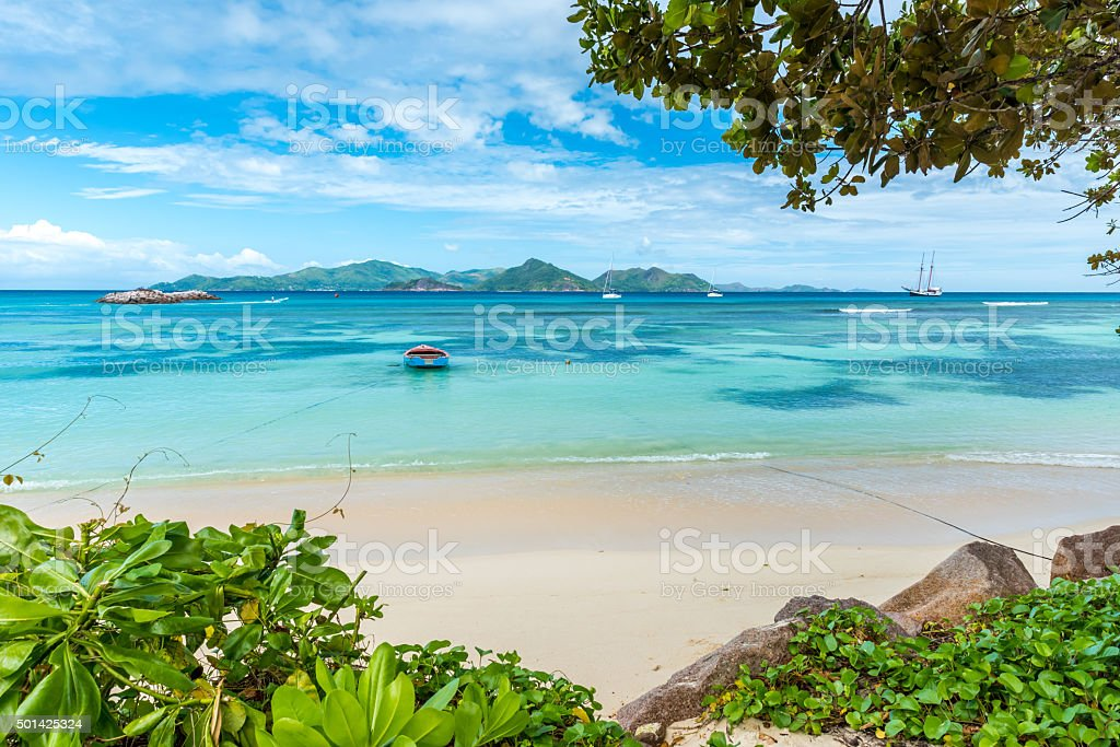 Anse la Reunion - Seychelles, La Digue Island stock photo