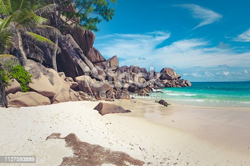beautiful lonely tropical beach at praslin island, at the seychelles islands in africa.