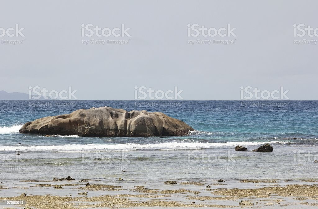 Anse Severe, Beach during Low Tide, La Digue Island, Seychelles royalty-free stock photo