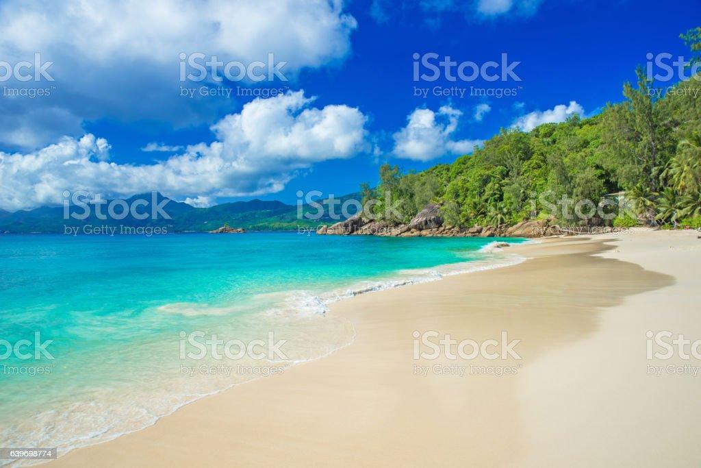 Anse Soleil -  beach on island Mahé stock photo