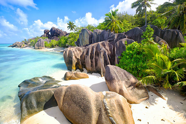 Anse Source d'Argent beach stock photo