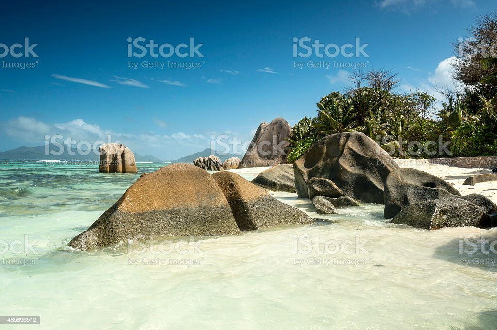 Anse Source d'Argent on La Digue island of Seychelles stock photo