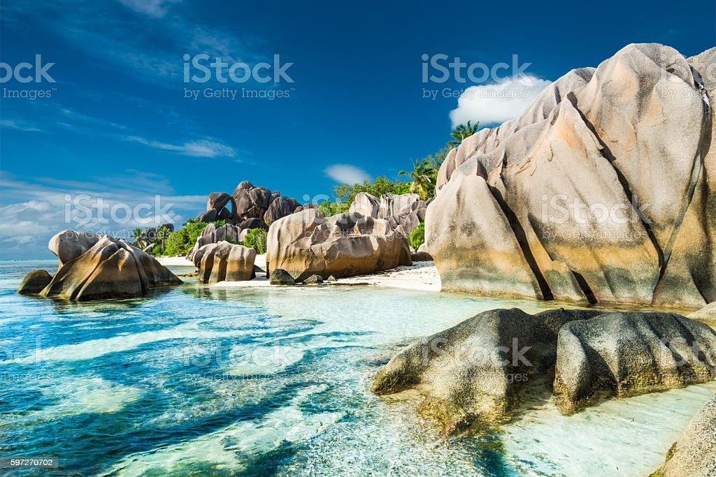 Anse Sous d'Argent beach with granite boulders royalty-free stock photo
