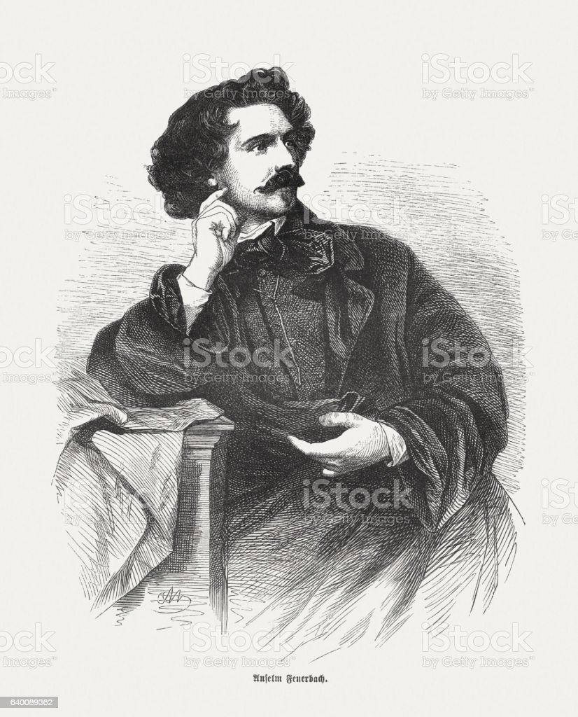 Anselm Feuerbach (1829-1880, German painter), wood engraving, published in 1865 stock photo