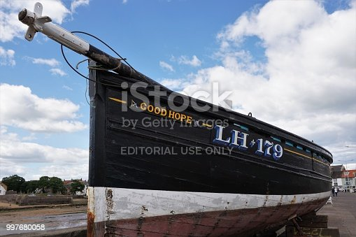 Anstruther, Scotland - June 21, 2018: This small boat with the name