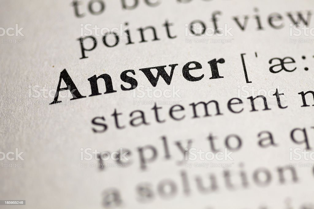 Answer royalty-free stock photo