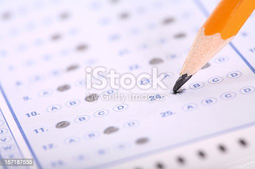 Marking and answer on a standardized test.