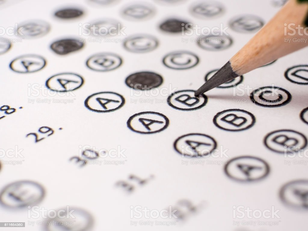 answer sheet stock photo