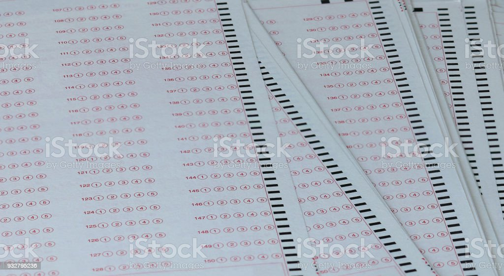 Answer Sheet Test Score Sheet For Exam With Answers In