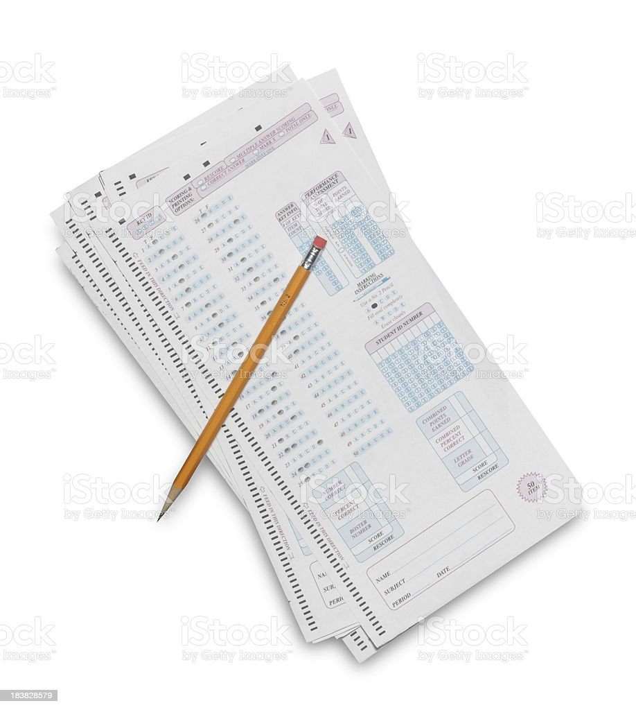 Answer Sheet with Pencil royalty-free stock photo