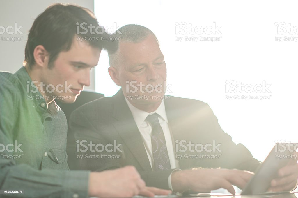 Answering Emails in the Office stock photo