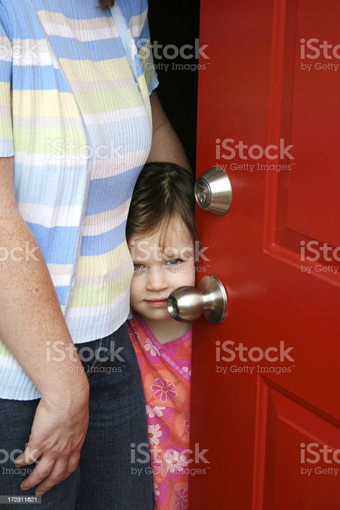 Answering the Door stock photo