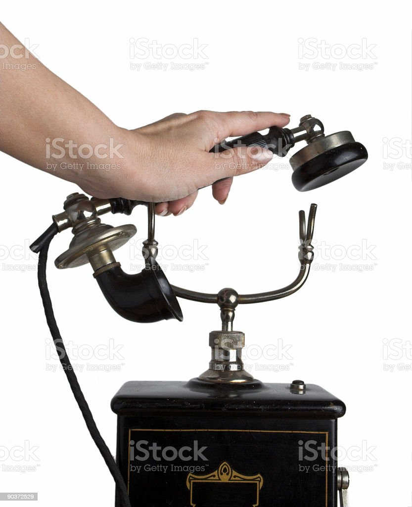 Answering the phone royalty-free stock photo