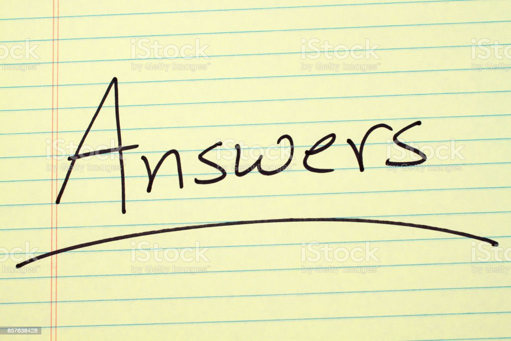 Answers On A Yellow Legal Pad stock photo