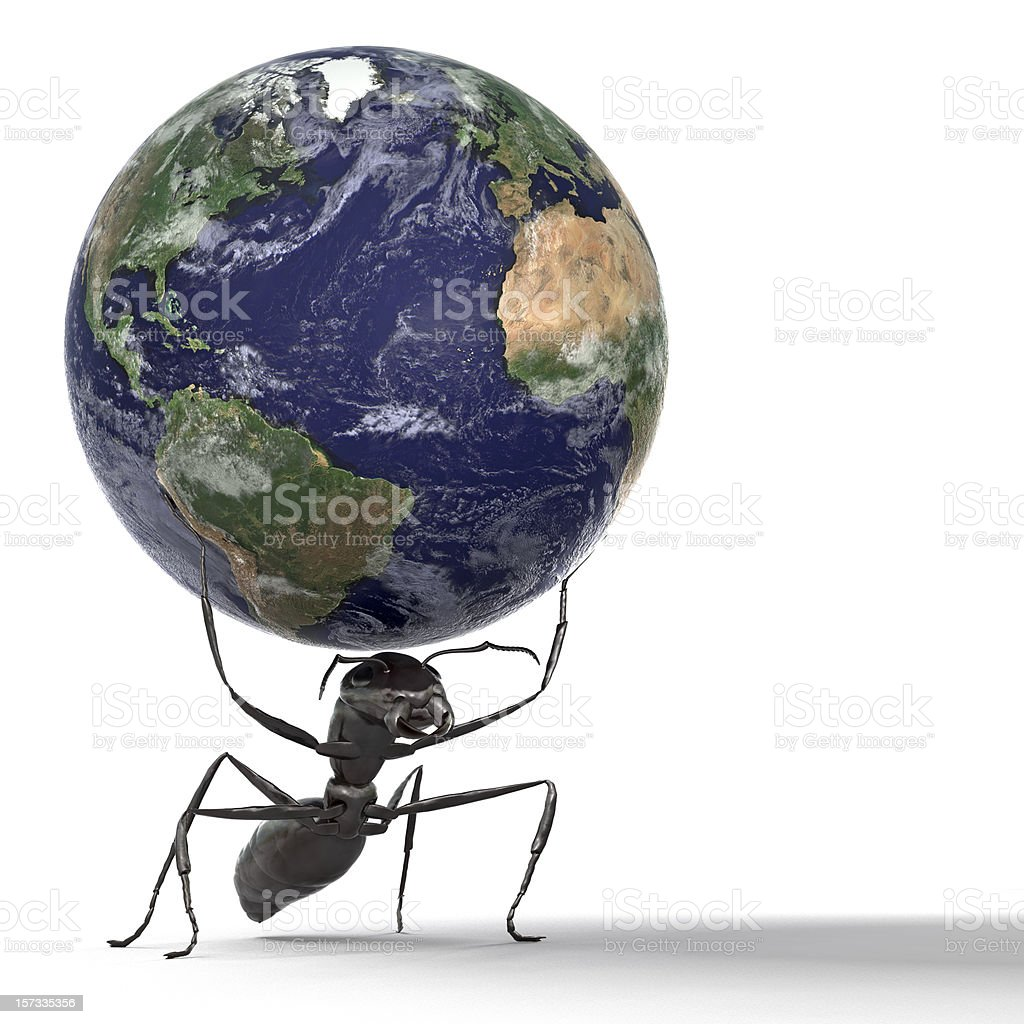 Ant Lifting the Earth royalty-free stock photo
