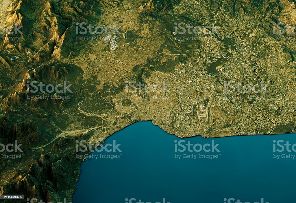 Antalya 3D Landscape View South-North Natural Color stock photo