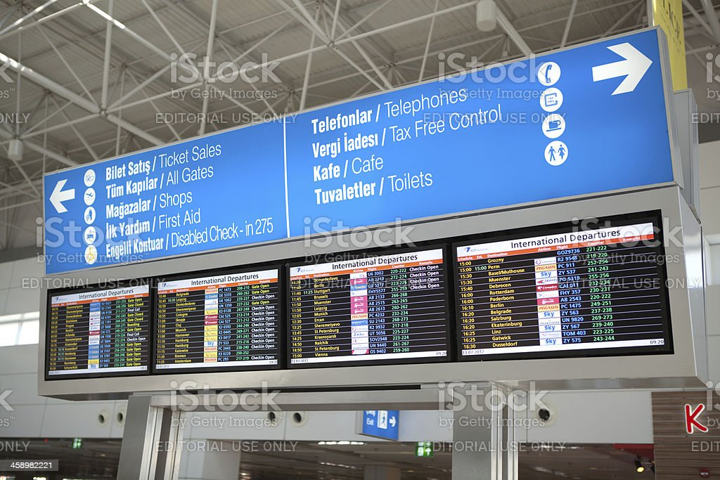 Antalya airport information board stock photo