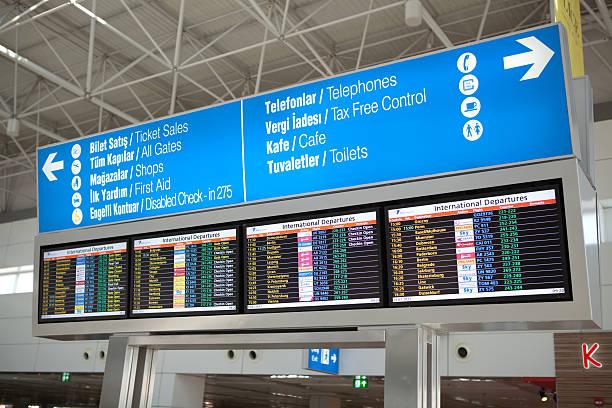 Antalya airport information board stock photo