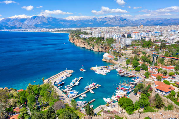 Antalya Harbor, Turkey, taken in April 2019 stock photo