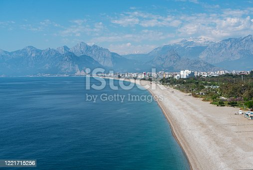 Antalya Konyaalti Beach with no people. The beach has recently been completely closed to the public due to the Coronavirus pandemic of 2020.