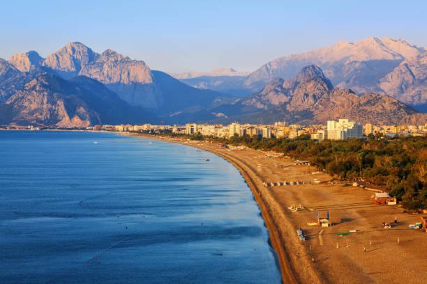 Antalya, Konyaalti sand beach, Turkey stock photo