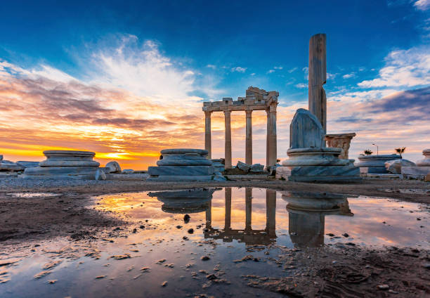 Antalya Province in Turkey The Temple of Apollo in Side Town of Antalya Province turkish stock pictures, royalty-free photos & images