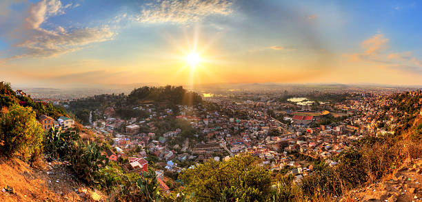 Antananarivo cityscape panorama stock photo