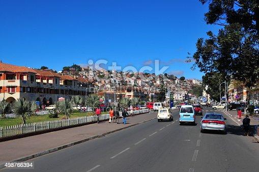 Antananarivo, Madagascar - August 1, 2008: traffic and people on Independence avenue
