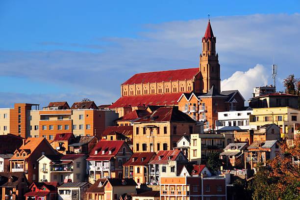 Antananarivo, Madagascar: Faravohitra church and hill stock photo