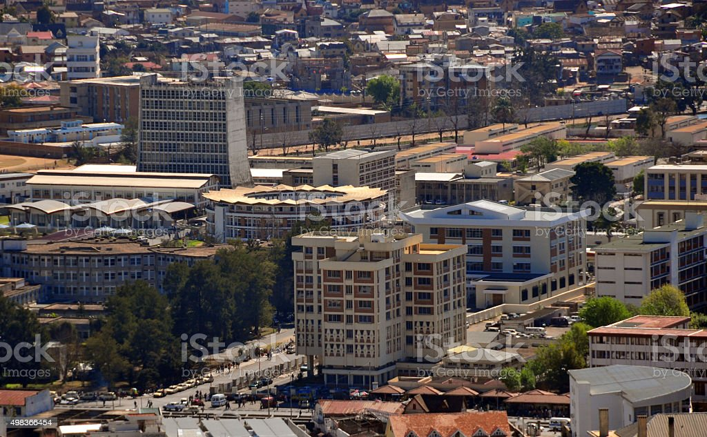 Antananarivo, Madagascar: government buildings from above stock photo