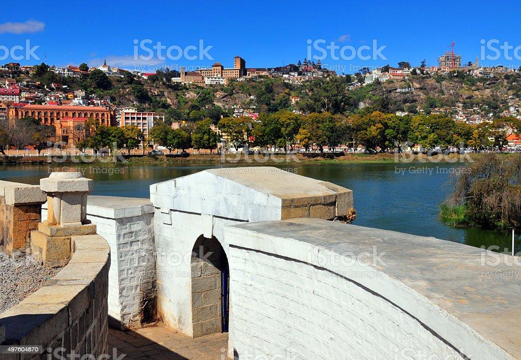 Antananarivo, Madagascar: lake Anosy and city skyline stock photo
