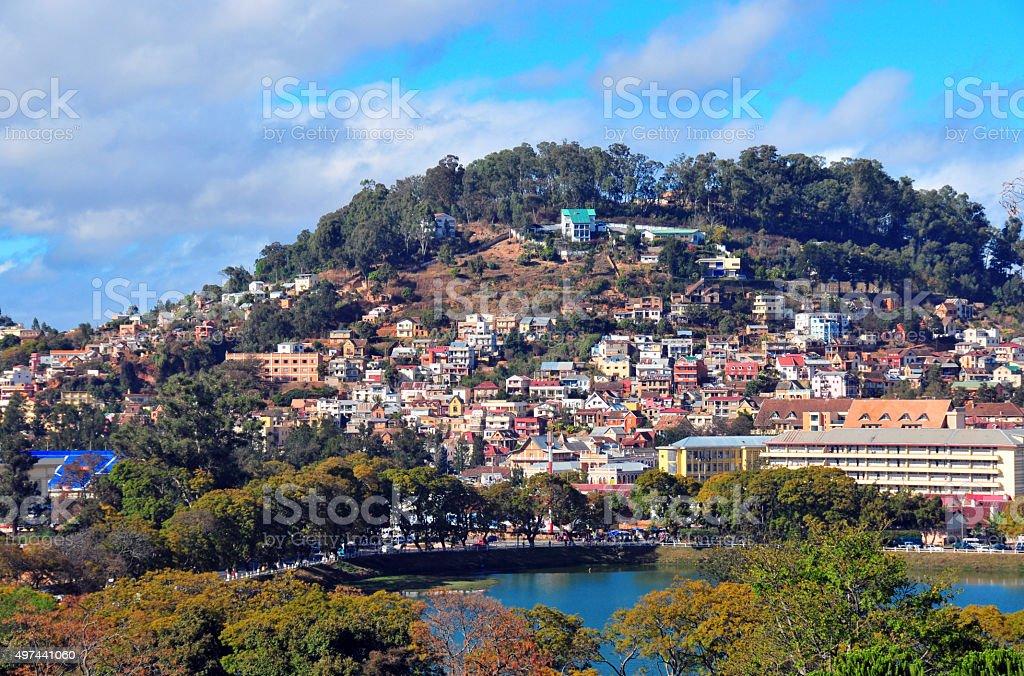 Antananarivo, Madagascar: Lake Anosy and fort Voyron hill stock photo