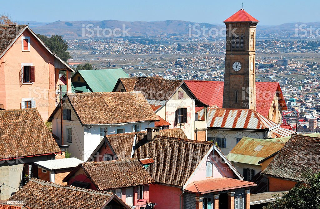 Antananarivo, Madagascar: roofs of the upper town and mountains stock photo